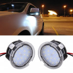 2 PCS DC 12V 2W 6000K 120LM 18-LED Side Rear View Mirror Puddle Lights Lamp for Ford 2013-2017 Explorer/2015-2017 Taurus/2015-20