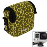 GN-5 Leopard Texture GoPro Accessories Waterproof Housing Neoprene Inner Protective Bag Camera Pouch for GoPro Hero4 /3+ /3(Yell