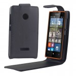 Vertical Flip Magnetic Button Leather Case for Microsoft Lumia 532
