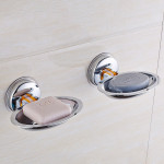 2 PCS ABS Oval Drain Bathroom Suction Cup Soap Holder