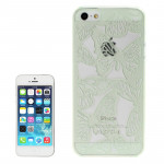 Hollow Engraving Butterfly Plastic Protective Case for iPhone 5 & 5s & SE (Light Green)