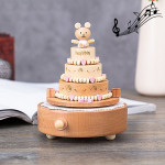 Birthday Cake Shape Home Decor Originality Wooden Musical Boxes
