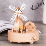 Windmill Shape Home Decor Originality Wooden Musical Boxes