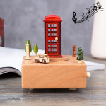 Telephone Booth Shape Home Decor Originality Wooden Musical Boxes