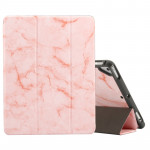 Marble Texture Pattern Horizontal Flip Case for iPad 9.7 (2018) , with Three-folding Holder & Pen Slots(Pink)
