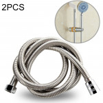 2 PCS 1.5m G1/2 Inch Flexible Stainless Steel Showerhead Hose Pipe Compact Anti Burst Bath Water Pipe