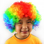 Colorful Wild-Curl Up Crown Party Cosplay Headwear Wavy Short Polyester Yarn Made Wigs For Adult And Child(iridescence)