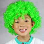 Colorful Wild-Curl Up Crown Party Cosplay Headwear Wavy Short Polyester Yarn Made Wigs For Adult And Child(Green)