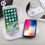 USB to 3 in 1 (8 Pin + Micro USB + USB-C / Type-C) Dock Charger Desktop Charging Data Sync Stand Station Holder with Qi Wireless