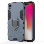 PC + TPU Shockproof Protective Case with Magnetic Ring Holder For iPhone X / XS (Navy Blue)