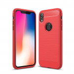 Brushed Texture Carbon Fiber Shockproof TPU Protective Back Case for iPhone X / XS (Red)