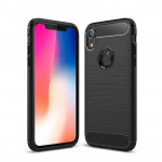 Brushed Texture Carbon Fiber Shockproof TPU Protective Back Case for iPhone X / XS (Black)