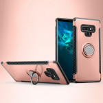 Magnetic Armor Protective Case for Galaxy Note 9, with 360 Degree Rotation Ring Holder(Rose Gold)