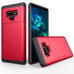 Shockproof Rugged Armor Protective Case for Galaxy Note 9, with Card Slot(Red)