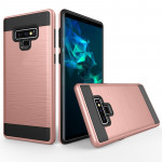 Brushed Texture Shockproof Rugged Armor Protective Case for Galaxy Note 9(Rose Gold)
