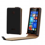 Vertical Flip Magnetic Button Leather Case for Microsoft Lumia 435(Black)