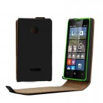 Vertical Flip Magnetic Button Leather Case for Microsoft Lumia 532(Black)