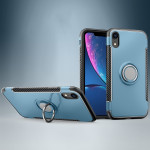 Magnetic 360 Degrees Rotation Ring Armor Protective Case for iPhone XR(Navy Blue)