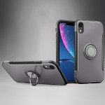 Magnetic 360 Degrees Rotation Ring Armor Protective Case for iPhone XR(Grey)