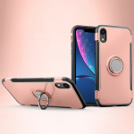Magnetic 360 Degrees Rotation Ring Armor Protective Case for iPhone XR(Rose Gold)