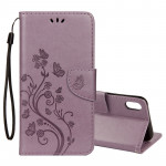 Embossed Butterfly Pattern Horizontal Flip Leather Case with Card Slot & Holder & Wallet & Lanyard For iPhone XR (Purple)
