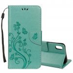 Embossed Butterfly Pattern Horizontal Flip Leather Case with Card Slot & Holder & Wallet & Lanyard For iPhone XR (Green)