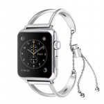 Letter V Shape Bracelet Metal Wrist Watch Band with Stainless Steel Buckle for Apple Watch Series 3 & 2 & 1 38mm (Silver)