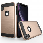 Brushed Texture Shockproof Rugged Armor Protective Case for iPhone XR(Gold)