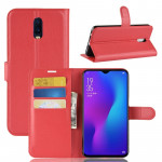 Litchi Texture Horizontal Flip PU Leather Case for OPPO R17, with Holder & Card Slots & Wallet (Red)