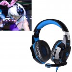 EACH G2000 Over-ear Stereo Bass Gaming Headset with Mic & LED Light for Computer, Cable Length: 2.2m(Blue)