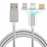 1m 3 in 1 USB to Micro USB + 8 Pin + USB-C / Type-C Magnetic Detachable Cable , For iPhone, Galaxy, Huawei, Xiaomi, HTC, Sony an