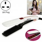 Multifunctional Steam Spray Straight Hair Comb,Infrared Negative Ion Hair Care Tool, UK Plug (White)