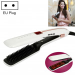 Multifunctional Steam Spray Straight Hair Comb,Infrared Negative Ion Hair Care Tool, EU Plug (White)
