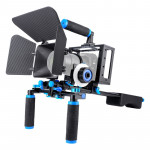 YELANGU D222 Dual Handles Camera Shoulder Mount + Camera Cage Stabilizer Kit with Matte Box + Follow Focus for DSLR Camera / Vid