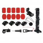 Cycling Helmet Adhesive Multi-Joint Arm Fixed Mount Set with J-Hook Buckle Mount & Adapter & Screw for GoPro HERO7 /6 /5 /5 Sess