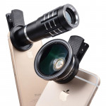 Universal 12X Telephoto Lens + 0.45X Wide-angle Lens + 12.5X Macro Lens Kit, For iPhone, Galaxy, Huawei, Xiaomi, LG, HTC and Oth