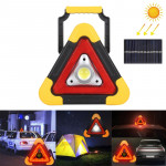 HB-6609R 10W Multi-function Portable Triangle Shape Solar Powered COB LED Work Light, 500 LM Outdoor Emergency Warning Light wit