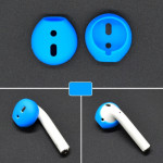 2 PCS Wireless Bluetooth Earphone Silicone Ear Caps Earpads for Apple AirPods (Blue)