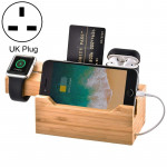 Multi-function Bamboo Charging Station Charger Stand Management Base with 3 USB Ports, For Apple Watch, AirPods, iPhone, UK Plug