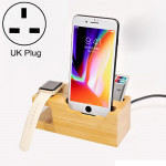 Multi-function Bamboo Charging Station Charger Stand Management Base with 3 USB Ports, For Apple Watch, iPhone, UK Plug