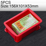 5 PCS Thick Multi-function Material Box Brand New Flat Plastic Parts Box Tool Box, Size: 156mm X 101mm X 53mm(Red)