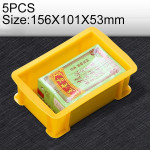 5 PCS Thick Multi-function Material Box Brand New Flat Plastic Parts Box Tool Box, Size: 156mm X 101mm X 53mm(Yellow)