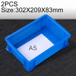 2 PCS Thick Multi-function Material Box Brand New Flat Plastic Parts Box Tool Box, Size: 302mm X 209mm X 83mm(Blue)