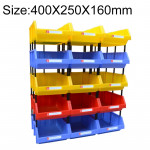 Thickened Oblique Plastic Box Combined Parts Box Material Box, Random Color Delivery, Size: 400mm X 250mm X 160mm