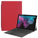 Custer Texture Horizontal Flip PU Leather Case for Microsoft Surface Pro 4 / 5 / 6 12.3 inch, with Holder & Pen Slot(Red)