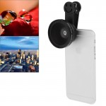 Universal 2 in 1 37mm Digital High Definition 0.45X Super Wide Angle Lens + Macro Lens with Clip for Smartphone / Tablet(Black)