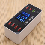 A9 Plus Multi-function AC 100V~240V 8 Ports USB Digital Display LCD Detachable Charging Station Smart Charger,Support QC3.0(Whit