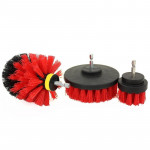 3 PCS Bathroom Kitchen Cleaning Brushes Kit for Electric Drill (Red)