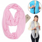 Echarpes Femmes solide hiver Infinity écharpe poche boucle Zipper foulards (rose clair) - Wewoo