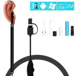 I96 0.3MP HD Visual Ear Nose Tooth Endoscope Borescope with 6 LEDs, Lens Diameter: 5.5mm, Length: 2m